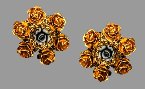 Rose flower earrings. Gold tone textured metal, plastic