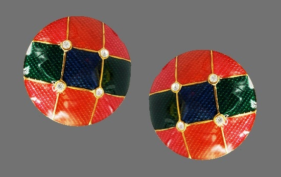 Round shaped red, blue, pink and orange clip on earrings. 1980s