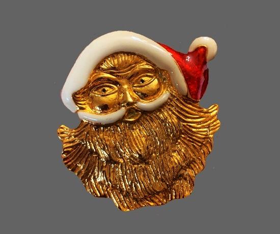Santa Claus head brooch. Gold tone, enamel, rhinestones