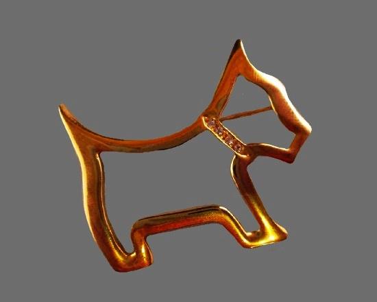 Scottish Terrier brooch. Gold tone, rhinestones