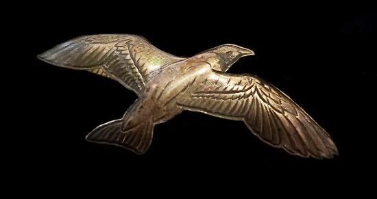 Seagull Bird textured silver brooch