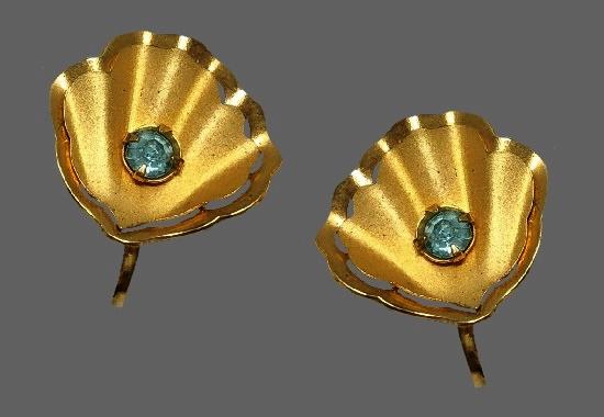 Seashell earrings. Gold tone, blue rhinestone