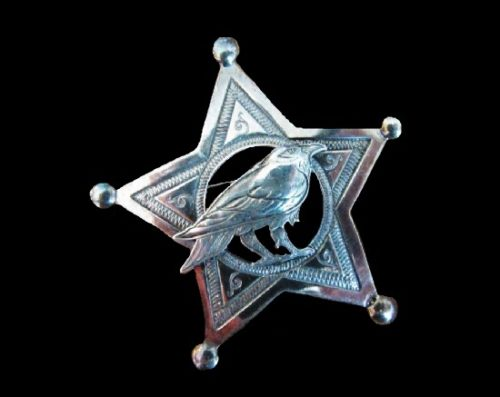 Sheriff Badge Star with Raven Crow Brooch