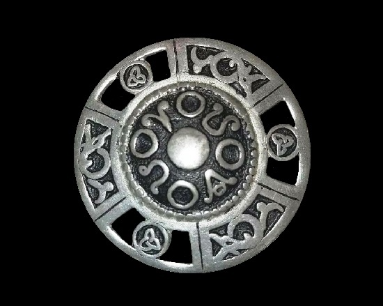 Shield Celtic design pewter brooch pin