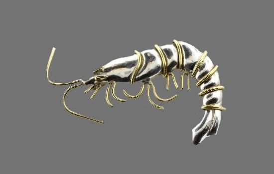 Shrimp brooch pin. Sterling silver, brass