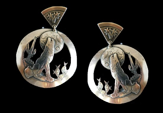 Silver Howling Wolf among cacti earrings. 1988
