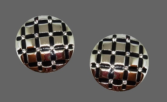 Silver Tone Black Enamel Rhinestone Clip Earrings