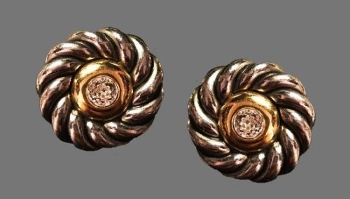 Silver and gold tone rope design rhinestone clip on earrings