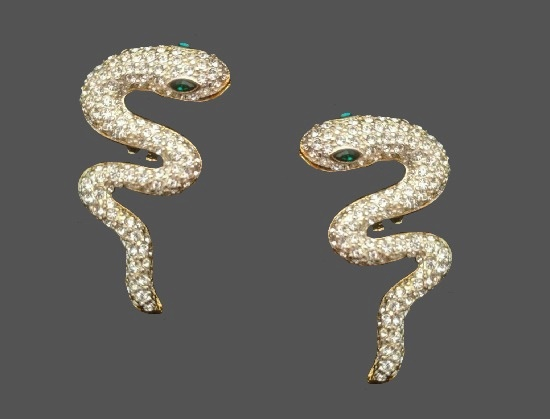 Snake clip on earrings. Gold tone, rhinestones, art glass