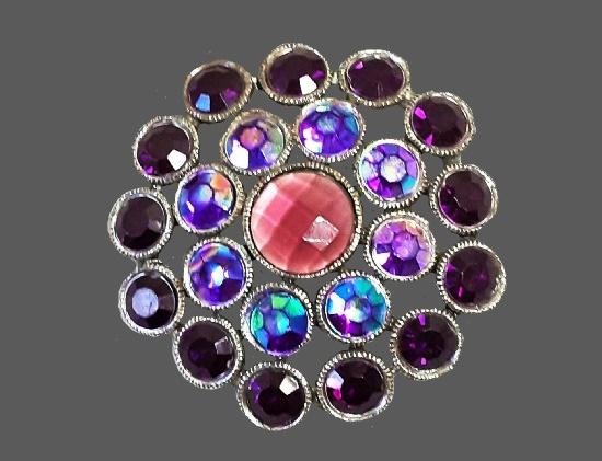 Snowflake brooch. Silver tone metal alloy, Aurora Borealis rhinestones