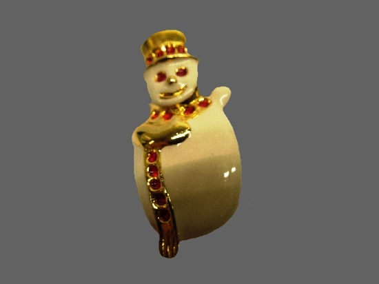 Snowman brooch pin. Gold tone, enamel, rhinestones