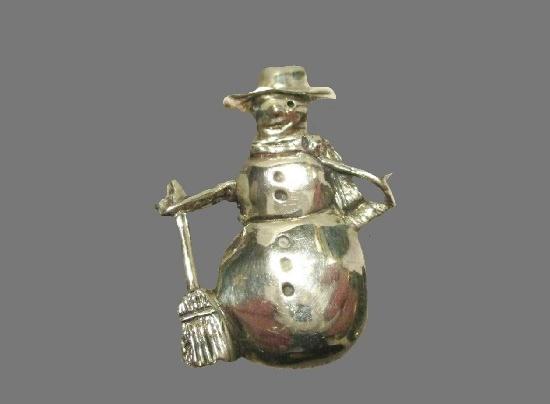 Snowman sterling silver brooch