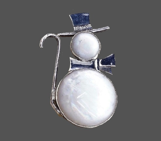 Snowman sterling silver lucite brooch