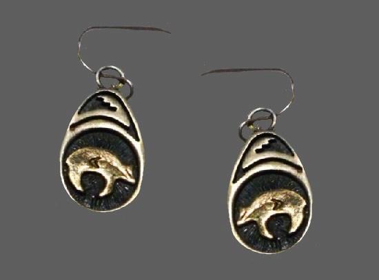 Southwestern heartline bear earrings. 14 K gold, sterling silver
