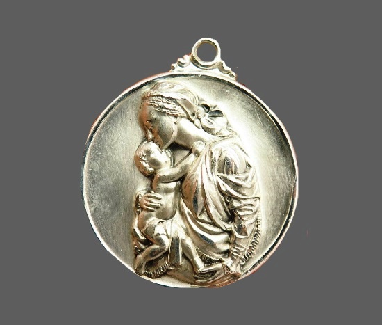St. Mary and Baby Jesus Medal Pendant. 925 sterling silver