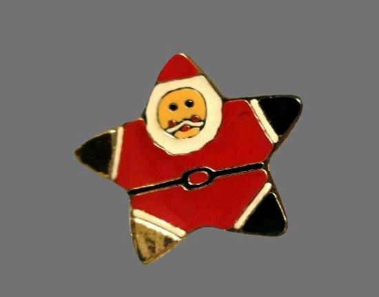 Star Santa pin. Gold tone, enamel