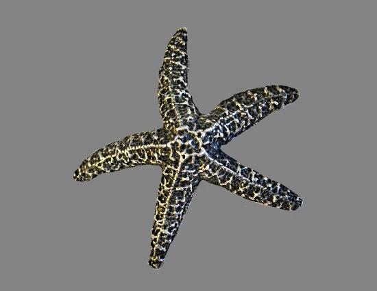 Starfish blackened silver brooch