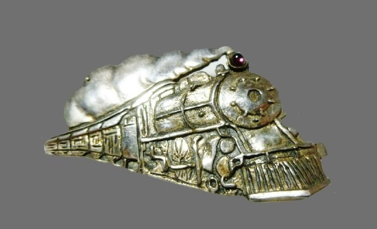 Steam train sterling silver brooch