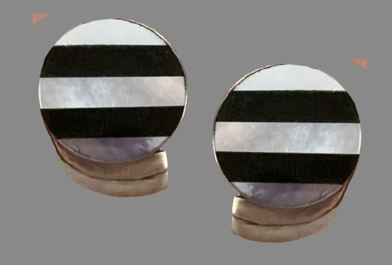 Striped earrings. Sterling silver, black and white onyx, mother-of-pearl