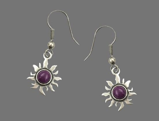 Sun earrings. 925 sterling silver, jasper