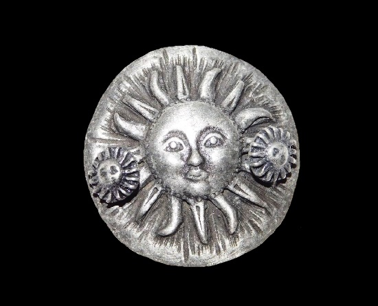 Sun pewter box. The set includes Sun earrings attached to the lid, and necklace inside the box