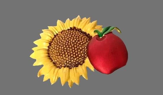 Sunflower and Apple enameled vintage brooch