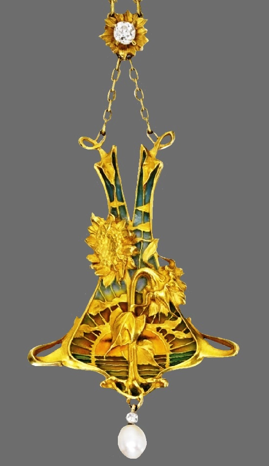 Sunflowers at the dawn pendant necklace. Gold, Platinum, Plique-à-Jour Enamel, Diamond and Pearl