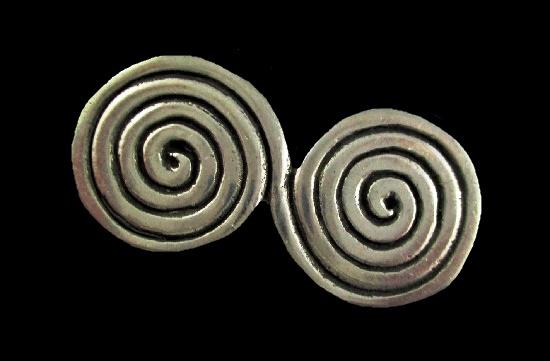 Swirl design pewter brooch. 1980s