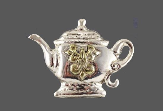 Teapot brooch. 925 Sterling silver. 7 cm. 1980s