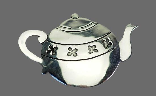Teapot sterling silver brooch