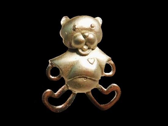 Teddy Bear Lapel Pin. Pewter