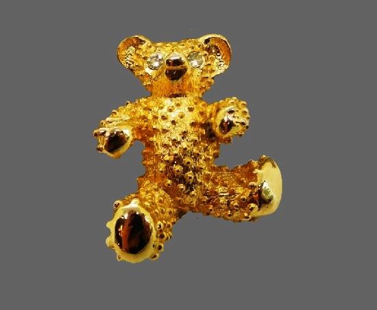 Teddy bear brooch pin. Gold tone, rhinestones