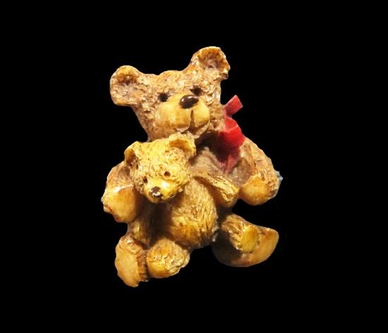 Teddy bear family plastic, acrylic painting brooch. 1980s