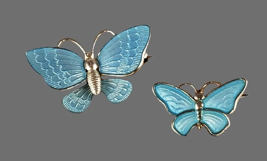 Textured silver blue butterfly brooch and pendant