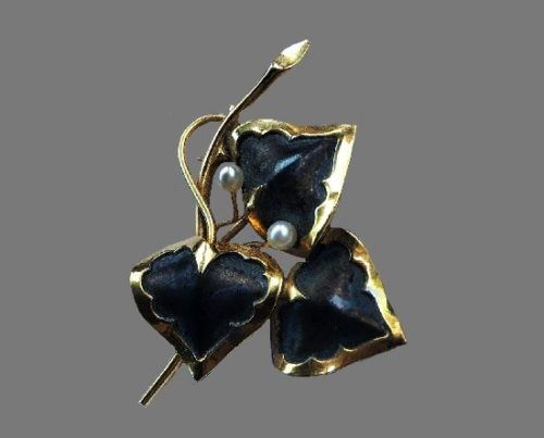 Three leaf brooch. 12 K Gold filled, sterling silver, faux pearls, plastic