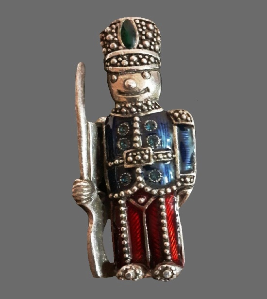Toy soldier brooch. Sterling silver, rhinestones, enamel