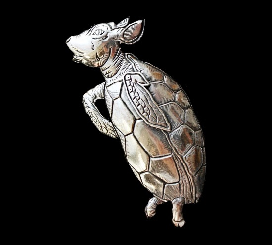 Turtle Quasi silver brooch. 5 cm 1990s