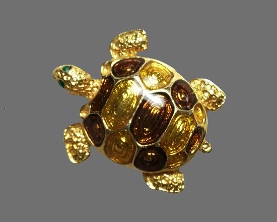 Turtle brooch. Gold tone, art glass, rhinestones