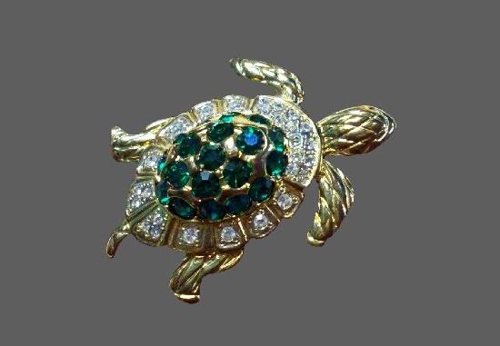 Turtle brooch. Gold tone, crystals, rhinestones