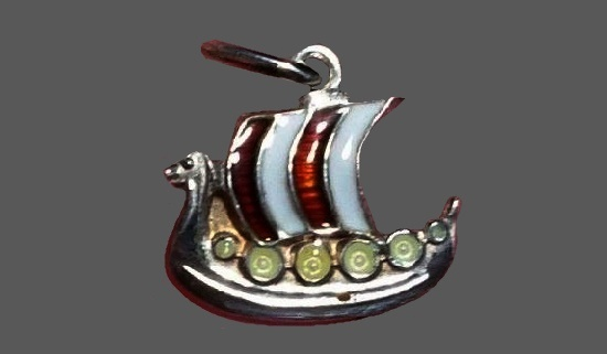 Viking Ship Pendant. Sterling silver, enamel, moonstone