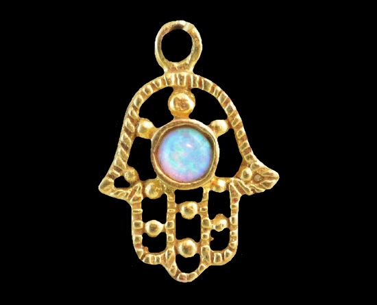 Vintage 14K Gold Filled blue opal Pendant Necklace
