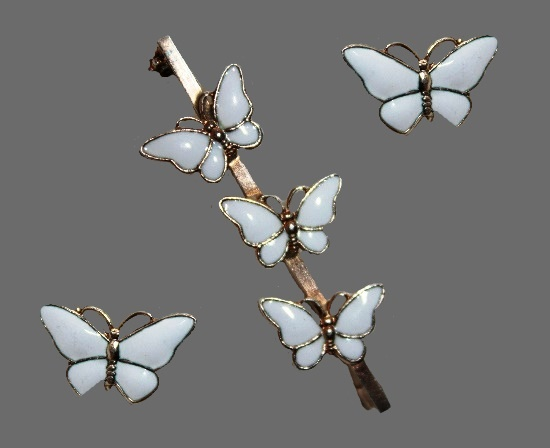 White butterfly brooch and earrings. Sterling silver, enamel