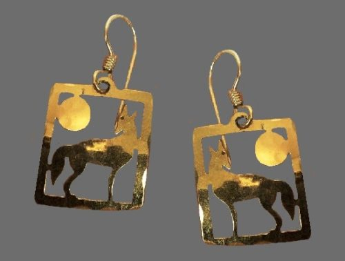 Wolf 14 K Gold plated earrings