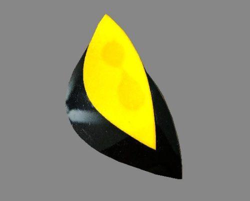 Yellow and black art deco geometric style brooch