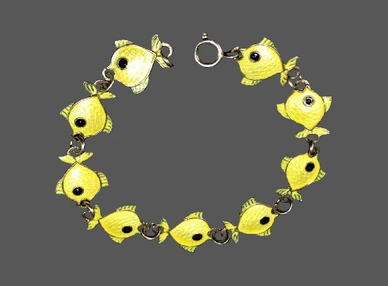 Yellow fish bracelet. Sterling silver, enamel