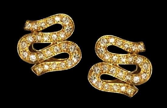18 k yellow gold and diamond earrings