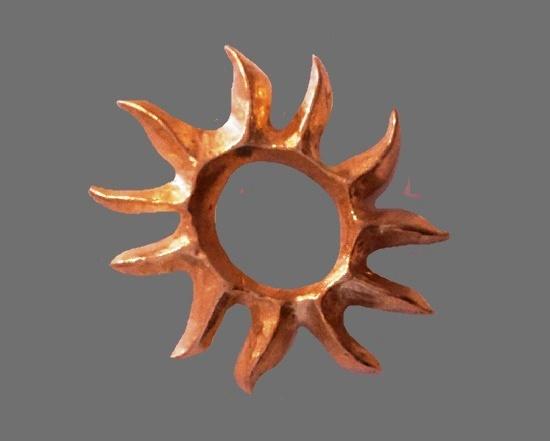 1990s vintage goldtone sunburst brooch pendant