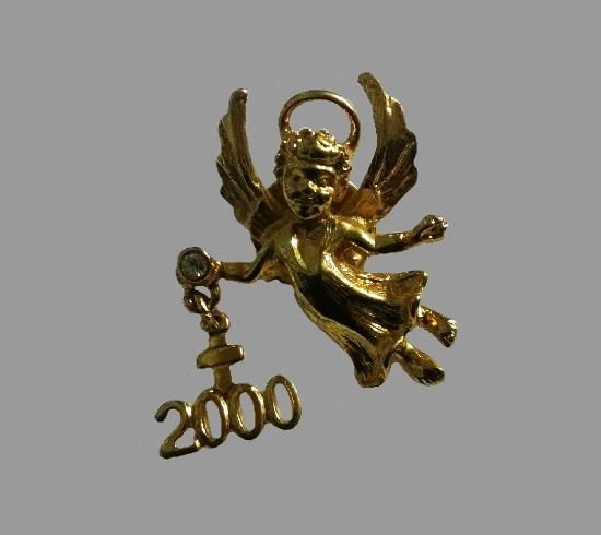 2000 Angel pin of gold tone