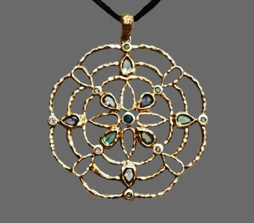 925 Vermeil Amethyst Peridot flower necklace
