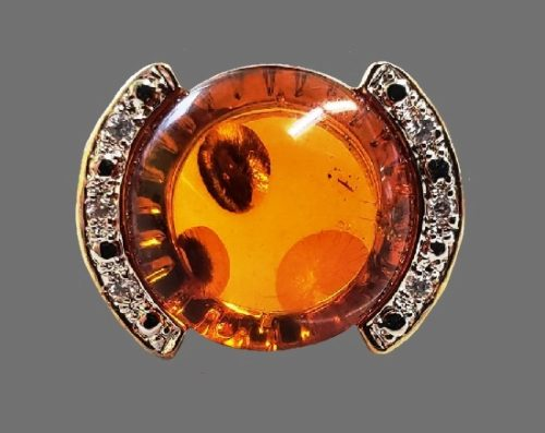 Amber gold plated sterling silver ring